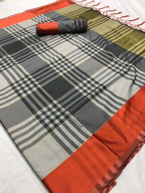 Grey Colored Beautiful Weaving Silk Saree - Tulika jashi
