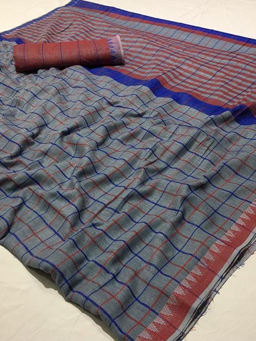 Grey Colored Beautiful Woven Linen Saree - Sneha