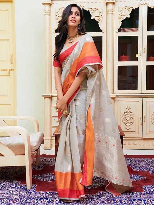 Grey Colored Beautiful Woven Linen Silk Saree - Kavya