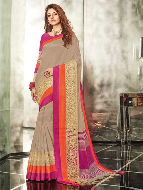 Grey Colored Branded Weaving Silk Saree