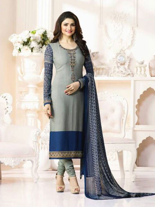 Grey Colored Casual wear Beautiful Embroidered Crepe Suit