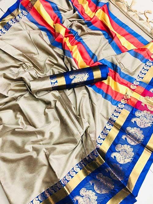 Grey Colored Cotton Silk Saree- Veera