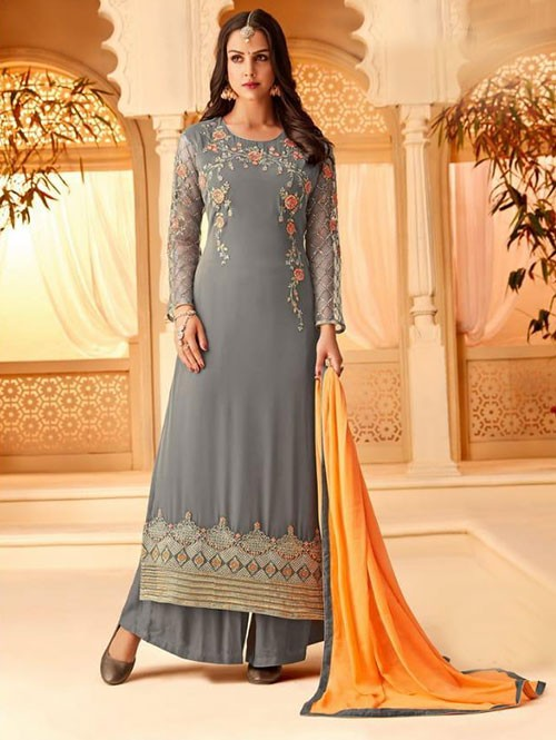 Grey Colored Heavy Embroidered Original Georgette Salwar Suit Material