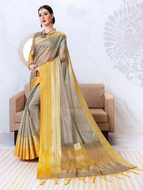 Grey Colored Kota Silk Saree