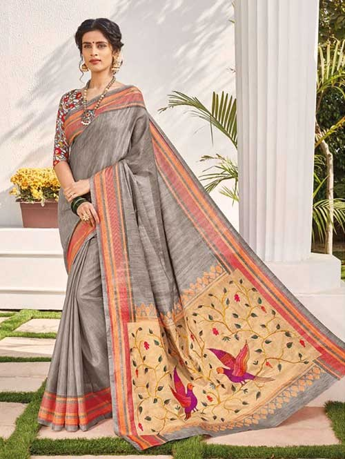 f52b1ae6d4b11 ... Silk Saree with Beautiful Embroidered on Pallu With Printed Blouse -  Bandhan. Grey