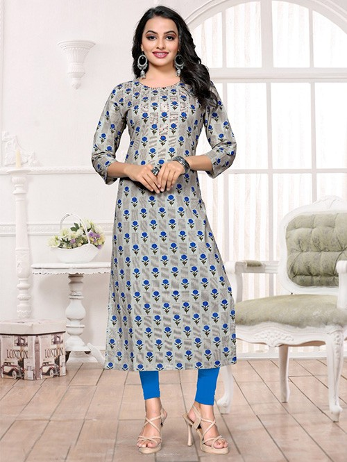 Grey Colored Printed A-Line Cotton Kurti Online