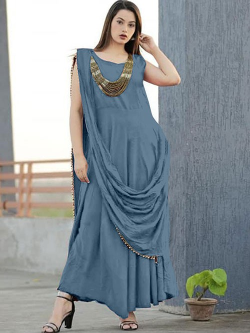 Grey Colored Saree Drape Style Indo-Western Rayon Kurt