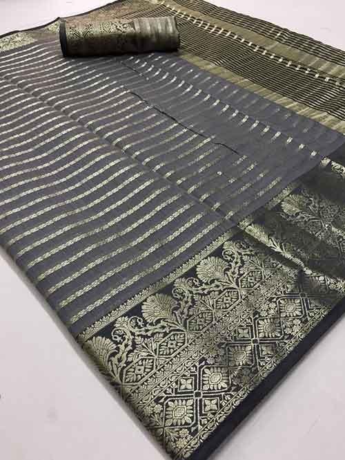 Grey Colored Soft Cotton Weaving Designer Saree - New Saree Design