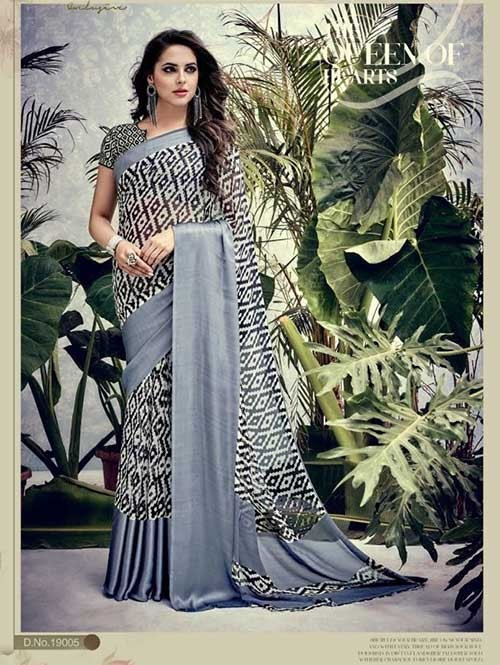 Grey Colored weightless Satin Patta Printed Saree