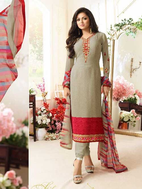 Grey Orange Colored Beautiful Embroidered French Creap Salwar Suit With Embroidery Work