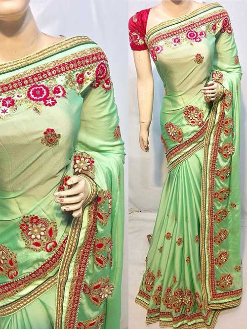 Heavy Embroidered Green Colored pure Chinon Silk Soft And Smooth Saree With Hanging Flowers Stones work