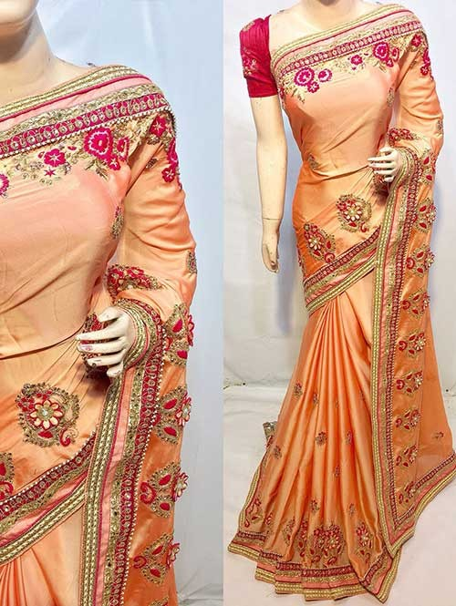 Heavy Embroidered Orange Colored pure Chinon Silk Soft And Smooth Saree With Hanging Flowers Stones work