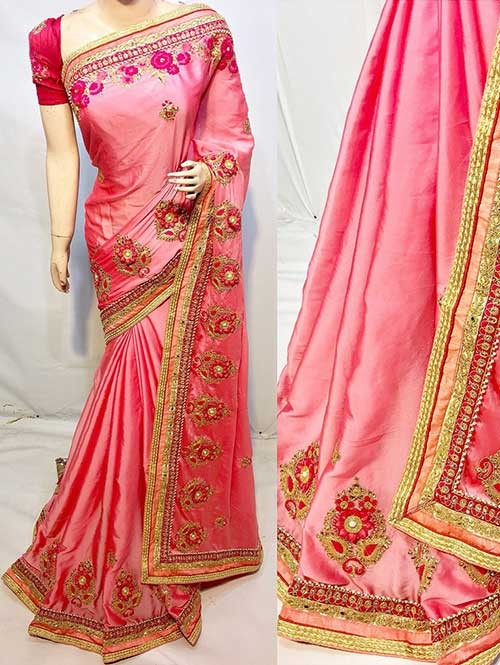 Heavy Embroidered Peach Colored pure Chinon Silk Soft And Smooth Saree With Hanging Flowers Stones work