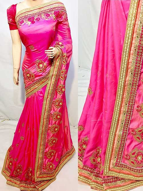 Heavy Embroidered Pink Colored pure Chinon Silk Soft And Smooth Saree With Hanging Flowers Stones work