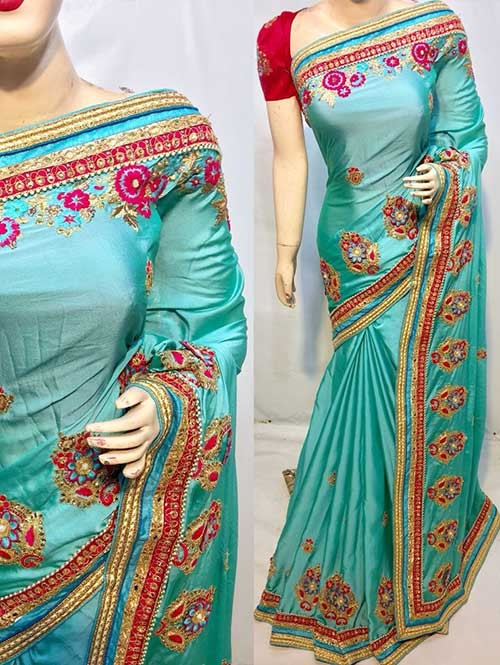 Heavy Embroidered Sky Colored pure Chinon Silk Soft And Smooth Saree With Hanging Flowers Stones work