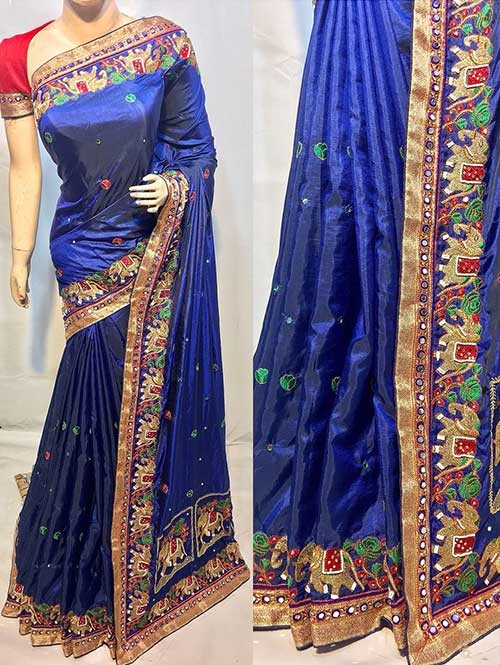 Heavy Figure Embroidered Blue Colored Pure Ruby Silk Soft And Smooth Saree With Stones And Khatli Work