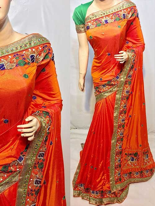 Heavy Figure Embroidered Orange Colored Pure Ruby Silk Soft And Smooth Saree With Stones And Khatli Work