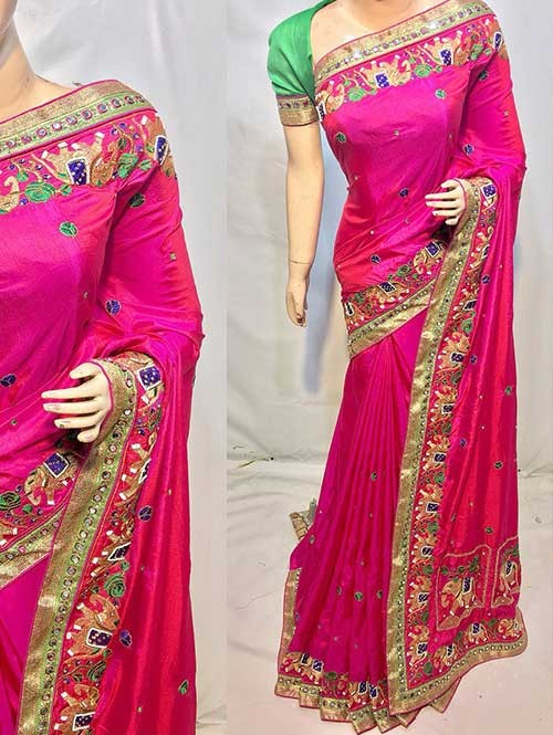Heavy Figure Embroidered Pink Colored Pure Ruby Silk Soft And Smooth Saree With Stones And Khatli Work