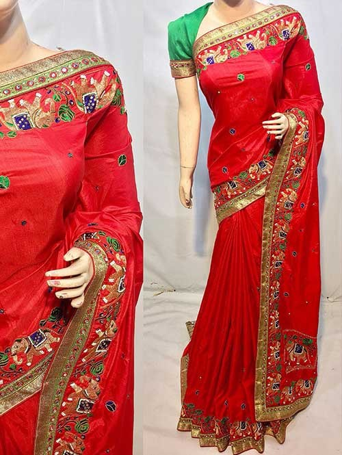 Heavy Figure Embroidered Red Colored Pure Ruby Silk Soft And Smooth Saree With Stones And Khatli Work