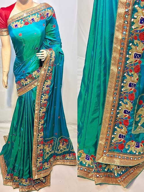 Heavy Figure Embroidered Sky Colored Pure Ruby Silk Soft And Smooth Saree With Stones And Khatli Work