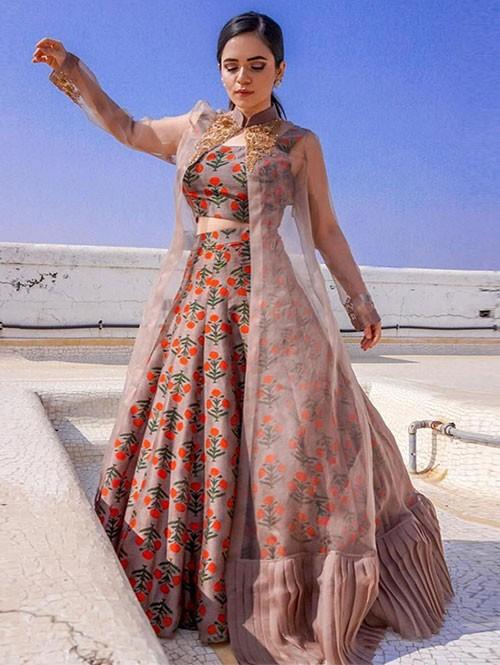 Heena Somani In Floral Print Beautiful Lehenga Top Set With Beautiful Pleated Koti