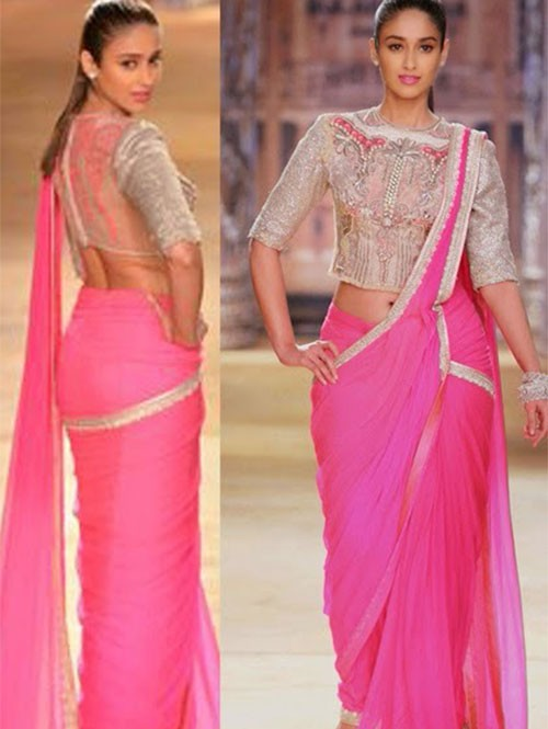 Ileana D'cruze Pink Rose Colored Beautiful Georgette Saree