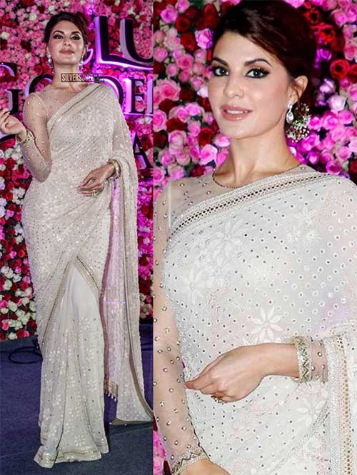 Jacqueline Fernandez in White 60Gm Georgette Thread and Multi Work Saree