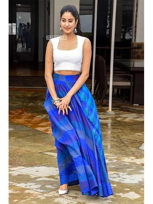 Jhanvi Kapoor In Blue Colored Tapeta Silk Lehenga With Beautiful To
