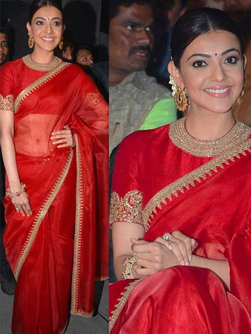 Kajal Agarwal Red Color Satin Chiffon Saree Online