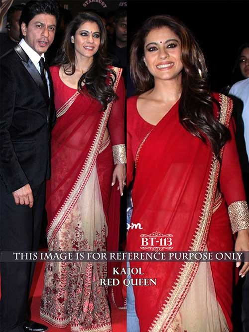 Kajol Red Color Georgette and Net Saree Online