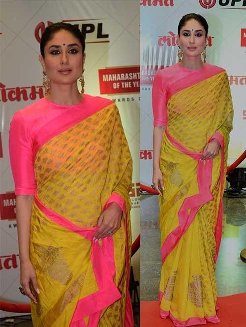 Kareena Kapoor Yellow Vivo silk Printed Saree