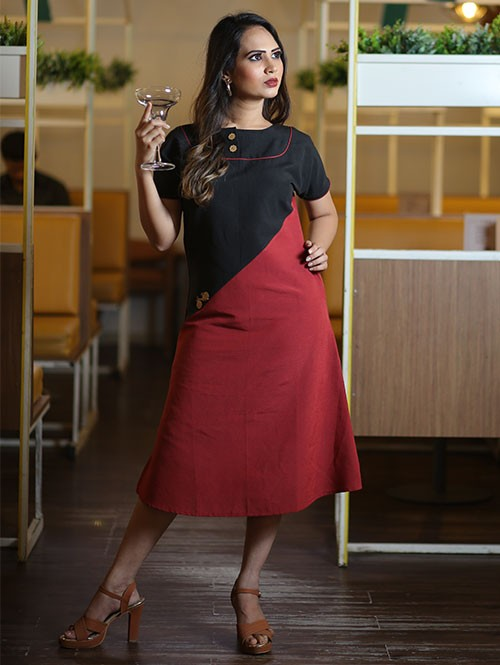Latest Black and Maroon Colored Beautiful Printed A-Line Cotton Kurti