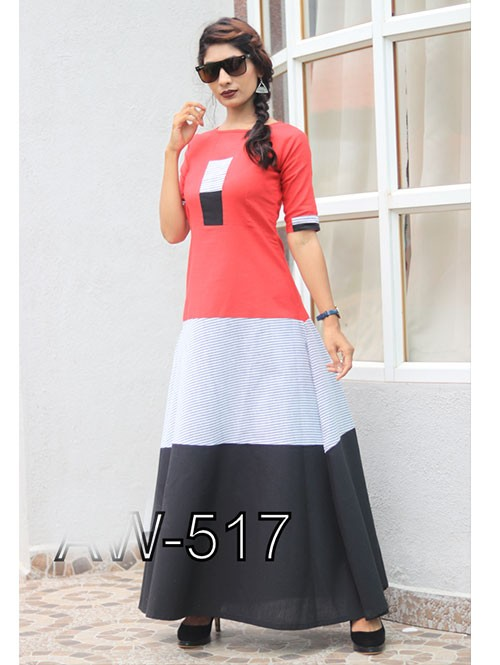 Latest Black and Red Colored Beautiful Printed A-Line Cotton Kurti
