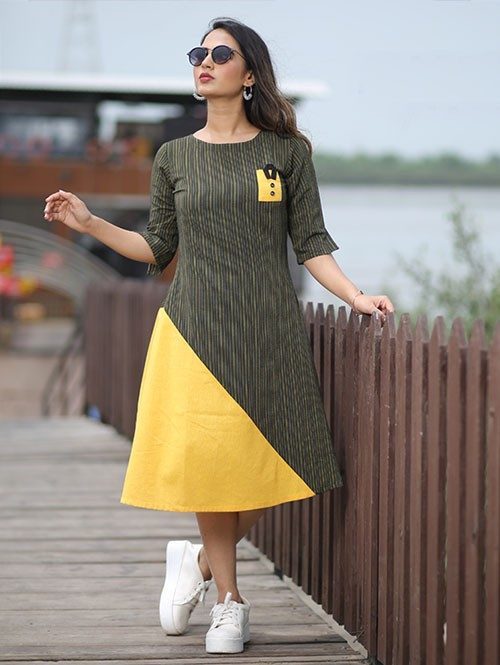 Latest Black and Yellow Colored Beautiful Printed A-Line Cotton Kurti