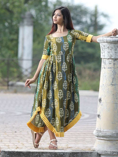 Latest Mahendi Colored Printed Cotton Pleated Kurti.
