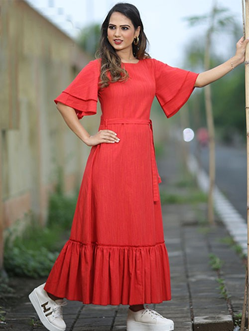 Latest Red Colored Beautiful Ruched Printed A-Line Cotton Kurti
