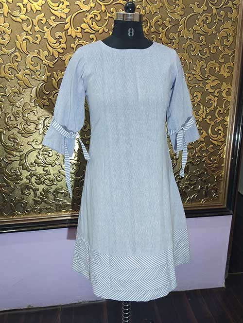 Latest Sky Colored Short Linning A-Line Cotton Kurti has Beautiful Sleeves