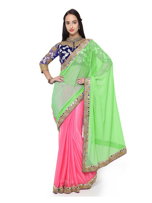 Light Green And Red rose Colored Lycra embroidery Designer Saree