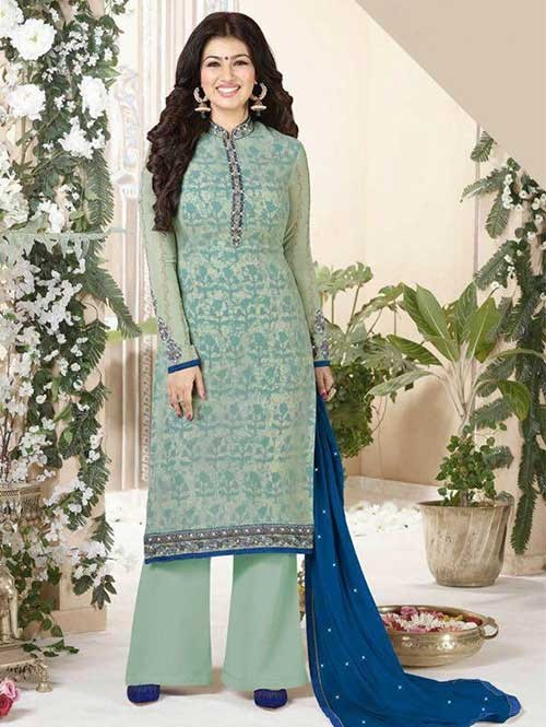 Light Green Colored Heavy Embroidered Georgette Salwar Suit