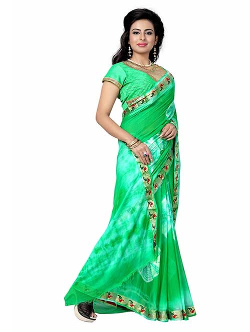 Light Green Nazneen Shibori Sarees With Ready made Blouse