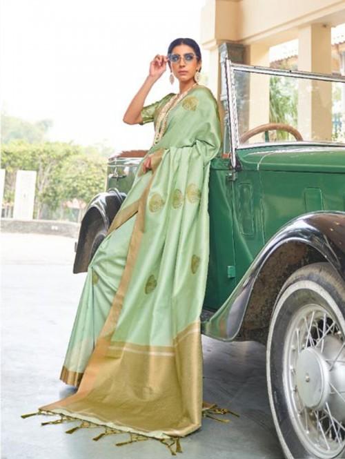 Green Soft Banarasi Silk Zari Base saree