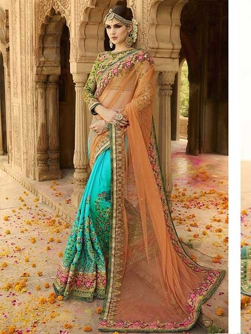 Light Orange and Blue Colored Beautiful Embroidered Nylone Mono Net and Turki Silk Saree