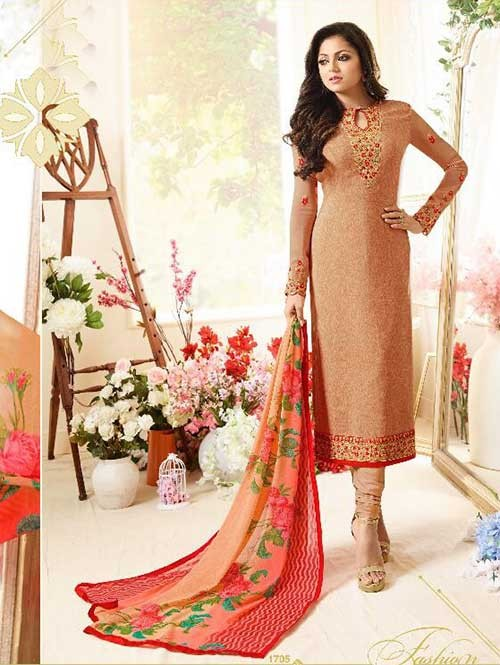 Light Orange Colored Beautiful Embroidered French Creap Salwar Suit With Embroidery Work