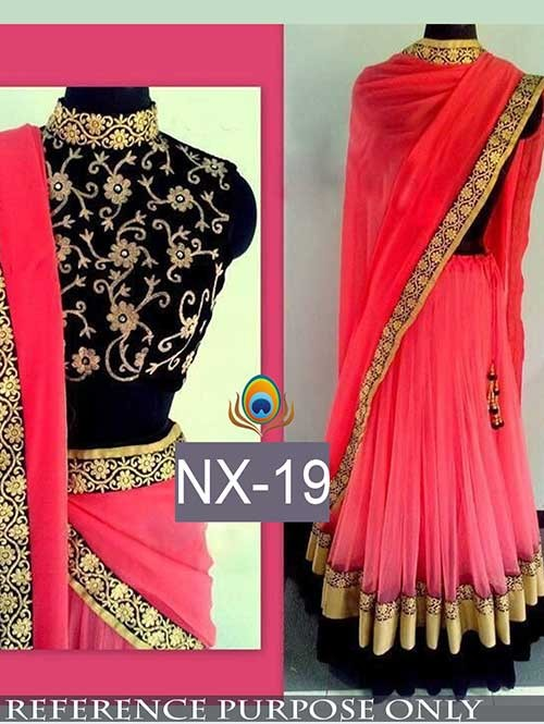 Light Peach Colored Beautiful Net Lehenga With Matching Choli