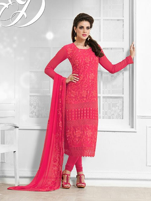 Light Red Colored Beautiful Embroidered Faux Chiffon Suit