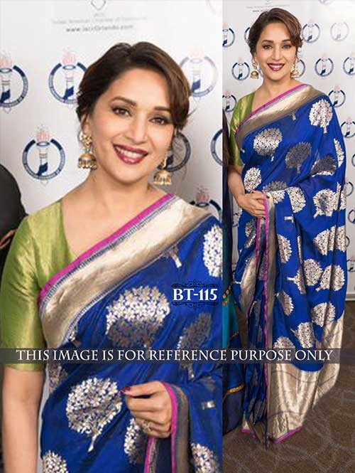 Madhuri Blue Color Nylon Silk Saree Online