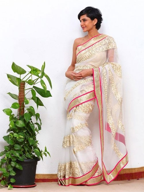 Mandira Bedi Beautiful Off White Net Saree