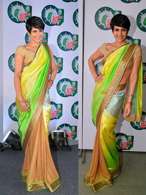 Mandira Bedi Beautiful Satin Silk And Georgette Saree