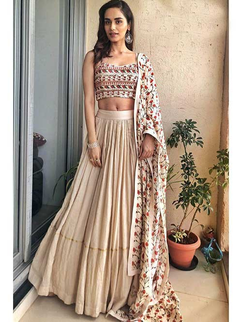 Manushi Chhillar In Cream Colored Muslin Silk Lehenga With Beautiful Top