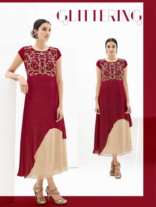 Maroon and Beige Colored Beautiful Georgette Double Layered Kurti with Heavy Embroidery.